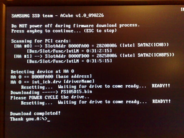 01. Samsung ACube, Samsung SSD firmware flashed successfully.jpg